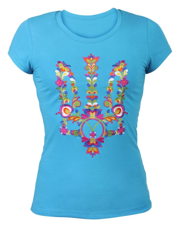 Женская футболка с вышивкой Моя Украина (бирюза) Весь каталог 6caad405d046b